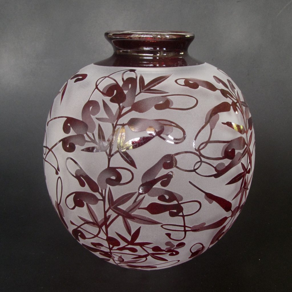 Grevillea tripartita vase - handblown & sandblasted glass by Amanda Louden
